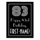 "[ Thumbnail: 83rd Birthday — Art Deco Inspired Look ""83"" + Name Card ]"