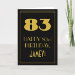 "[ Thumbnail: 83rd Birthday ~ Art Deco Inspired Look ""83"" & Name Card ]"
