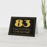 "[ Thumbnail: 83rd Birthday: Art Deco Inspired Look ""83"" & Name Card ]"