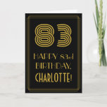 "[ Thumbnail: 83rd Birthday: Art Deco Inspired Look ""83"" & Name Card ]"
