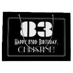 "[ Thumbnail: 83rd Birthday ~ Art Deco Inspired Look ""83"" + Name Gift Bag ]"