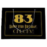 "[ Thumbnail: 83rd Birthday — Art Deco Inspired Look ""83"" & Name Gift Bag ]"
