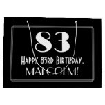 "[ Thumbnail: 83rd Birthday: Art Deco Inspired Style ""83"", Name Gift Bag ]"