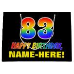 [ Thumbnail: 83rd Birthday: Bold, Fun, Simple, Rainbow 83 Gift Bag ]