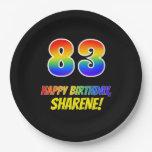 [ Thumbnail: 83rd Birthday: Bold, Fun, Simple, Rainbow 83 Paper Plate ]