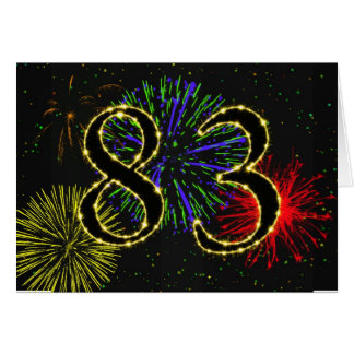 83rd Birthday card with fireworks
