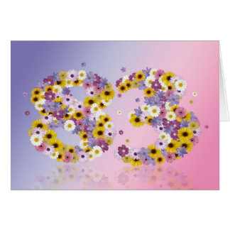 83rd birthday card with flowery letters