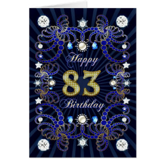 83rd birthday card with masses of jewels