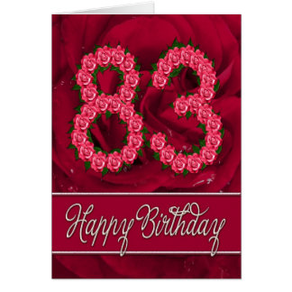 83rd birthday card with roses and leaves