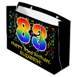 [ Thumbnail: 83rd Birthday - Colorful Music Symbols, Rainbow 83 Gift Bag ]