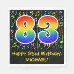 [ Thumbnail: 83rd Birthday - Colorful Music Symbols, Rainbow 83 Napkins ]