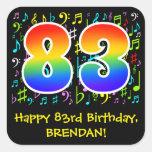 [ Thumbnail: 83rd Birthday: Colorful Music Symbols, Rainbow 83 Sticker ]