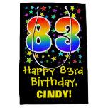 [ Thumbnail: 83rd Birthday: Colorful Stars Pattern & Rainbow 83 Gift Bag ]
