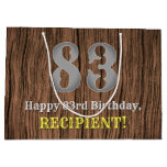 [ Thumbnail: 83rd Birthday: Country Western Inspired Look, Name Gift Bag ]
