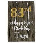 [ Thumbnail: 83rd Birthday: Elegant Faux Gold Look #, Faux Wood Gift Bag ]