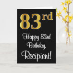 [ Thumbnail: 83rd Birthday ~ Elegant Luxurious Faux Gold Look # Card ]