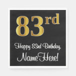 [ Thumbnail: 83rd Birthday ~ Elegant Luxurious Faux Gold Look # Napkins ]