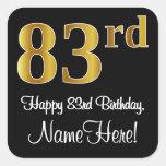 [ Thumbnail: 83rd Birthday – Elegant Luxurious Faux Gold Look # Sticker ]