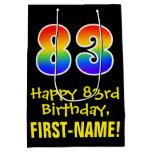 "[ Thumbnail: 83rd Birthday: Fun, Bold, Colorful, Rainbow ""83"" Gift Bag ]"