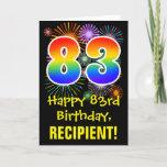 [ Thumbnail: 83rd Birthday: Fun Fireworks Pattern + Rainbow 83 Card ]
