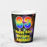 [ Thumbnail: 83rd Birthday: Fun Fireworks Pattern + Rainbow 83 ]