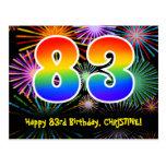 [ Thumbnail: 83rd Birthday – Fun Fireworks Pattern + Rainbow 83 Postcard ]