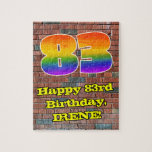 [ Thumbnail: 83rd Birthday: Fun Graffiti-Inspired Rainbow 83 Jigsaw Puzzle ]