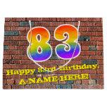 [ Thumbnail: 83rd Birthday: Fun, Graffiti-Inspired Rainbow # 83 Gift Bag ]