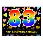 [ Thumbnail: 83rd Birthday: Fun Hearts Pattern, Rainbow 83 Postcard ]
