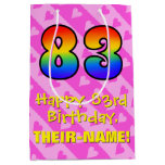 [ Thumbnail: 83rd Birthday: Fun Pink Hearts Stripes; Rainbow 83 Gift Bag ]