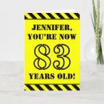[ Thumbnail: 83rd Birthday: Fun Stencil Style Text, Custom Name Card ]
