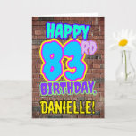 [ Thumbnail: 83rd Birthday - Fun, Urban Graffiti Inspired Look Card ]