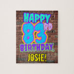 [ Thumbnail: 83rd Birthday ~ Fun, Urban Graffiti Inspired Look Jigsaw Puzzle ]