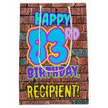 [ Thumbnail: 83rd Birthday: Fun, Urban Graffiti Inspired Look Gift Bag ]