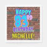 [ Thumbnail: 83rd Birthday ~ Fun, Urban Graffiti Inspired Look Napkins ]