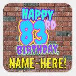 [ Thumbnail: 83rd Birthday – Fun, Urban Graffiti Inspired Look Sticker ]