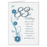 83rd birthday in teal with flowers and butterfly greeting card