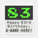 """[ Thumbnail: 83rd Birthday - Nerdy / Geeky Style """"83"""" & Name Napkins ]"""
