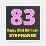 "[ Thumbnail: 83rd Birthday: Pink Stripes and Hearts ""83"" + Name Napkins ]"