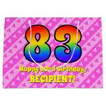 [ Thumbnail: 83rd Birthday: Pink Stripes & Hearts, Rainbow # 83 Gift Bag ]