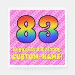 [ Thumbnail: 83rd Birthday: Pink Stripes & Hearts, Rainbow # 83 Napkins ]