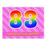 [ Thumbnail: 83rd Birthday: Pink Stripes & Hearts, Rainbow 83 Postcard ]