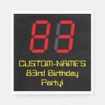 "[ Thumbnail: 83rd Birthday: Red Digital Clock Style ""83"" + Name Napkins ]"