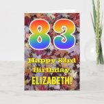 "[ Thumbnail: 83rd Birthday; Rustic Autumn Leaves; Rainbow ""83"" Card ]"