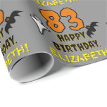 [ Thumbnail: 83rd Birthday: Spooky Halloween Theme, Custom Name Wrapping Paper ]