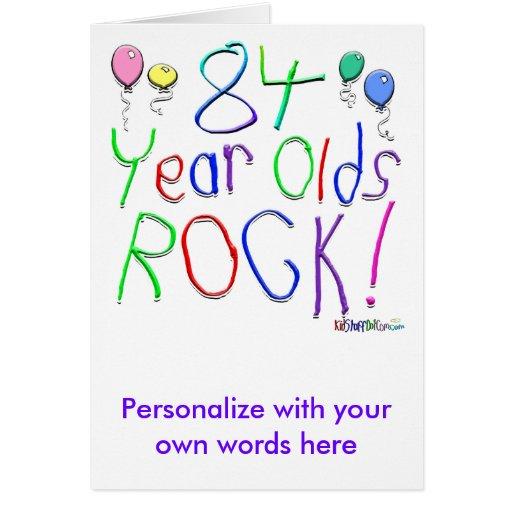 ¡84 años de la roca! tarjeta de felicitación
