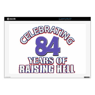 "84 years of raising hell decals for 17"" laptops"