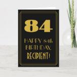 "[ Thumbnail: 84th Birthday – Art Deco Inspired Look ""84"" & Name Card ]"