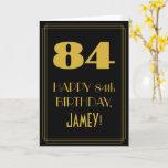 "[ Thumbnail: 84th Birthday ~ Art Deco Inspired Look ""84"" & Name Card ]"