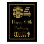 "[ Thumbnail: 84th Birthday: Art Deco Inspired Look ""84"" + Name Card ]"